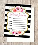 Fill In Invitations, Black And White Stripes And Flowers, Set of 20 Wedding Invitations, Rehearsal Dinner, Bridal Shower, Baby Shower, Bachelorette Party, Engagement Invitations, 4.25'' x 5.5''
