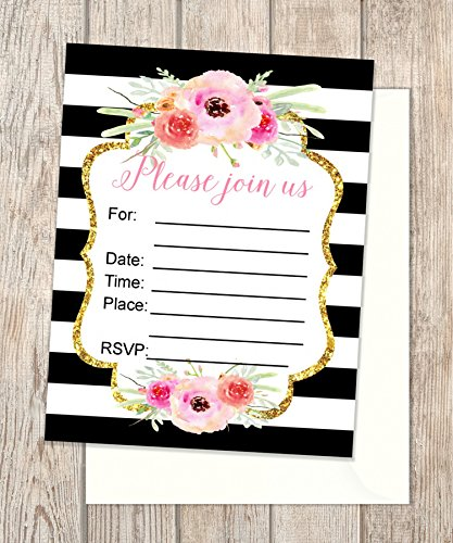 Fill In Invitations, Black And White Stripes And Flowers, Set of 20 Wedding Invitations, Rehearsal Dinner, Bridal Shower, Baby Shower, Bachelorette Party, Engagement Invitations, 4.25