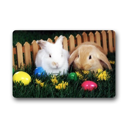 (PuyrtdfsDoor Mats Easter Eggs and Cute Bunny Custom Non Slip Bathroom/Kitchen/Workstations Decor Mat 23.6 inch(L) x 15.7 inch(W), 3/16inch Thickness)