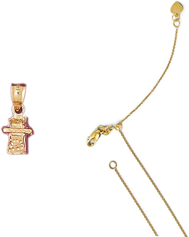 14K Yellow Gold 3-D Telephone Pendant on an Adjustable 14K Yellow Gold Chain Necklace