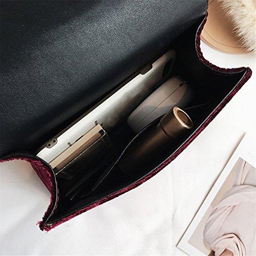 Tote Retro Bags Messenger Yuan Velvet Gold Wine Handbag Shoulder Bag 0HwCFqZf