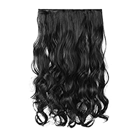 FESHFEN 20″ One Piece 3/4 Full Head Clip in Hair Extensions Long Curly Wave Synthetic Hair Extensions 5 Clips Hairpieces for Women 130g(1B Off Black)