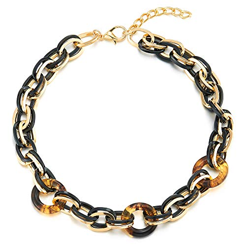 - COOLSTEELANDBEYOND Large Collar Statement Necklace, Gold Black Double Ovals Link Chain with Resin Circles, Light Weight