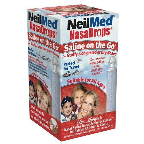 Neil Med Nasa Drops Saline Vials, 15 Single-Use Ampoules, 0.5 Ounce
