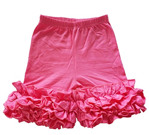 Fashion Baby Baby Little Girls Short Icing Triple Ruffle Shorts, Hot Pink, L#5Year