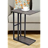 GIA C Shape Side End Table, Black Frame , Easy Assemble , Sofa Height , Faux Recalimed Wooden Top And Bottom With Heat Resistant, Gray Ash