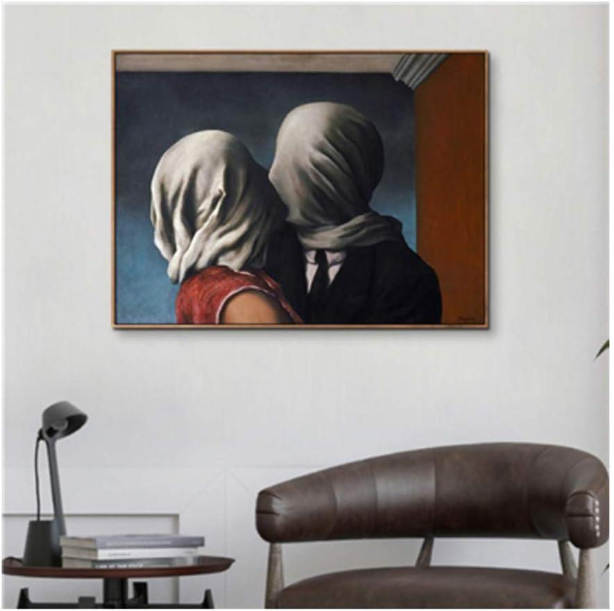 Impresión en lienzo Surrealismo Arte Pintura en lienzo Por Rene Magritte Famoso Cartel clásico Impresión Oficina Hogar Dormitorio Decoración Arte de la pared -50x70cmSin marco