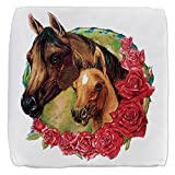 18 Inch 6-Sided Cube Ottoman Horses and Roses