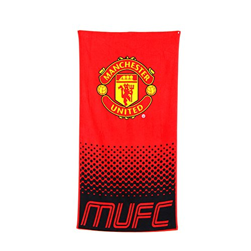 Manchester United FC Official Fade Football/Soccer Crest Beach Towel (One Size) (Red/Black)