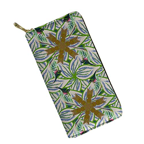 Bohemian Style Flower Print Women Ladies Leather Long Wallet Zipper Around Clutch Travel Purse