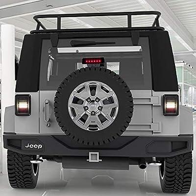 Upgraded Jeep Wrangler JK LED Tail Lights Smoked & Smoked Third High Brake Light - Reverse Lights Turn Signal Lamps Brake Lights Running Lights for Jeep Wrangler JK 2007-2020, 1 Year Warranty: Automotive