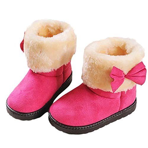 Tenworld Winter Baby Girls Kids Bowknot Boot Warm Snow Boots (24, Hot Pink)
