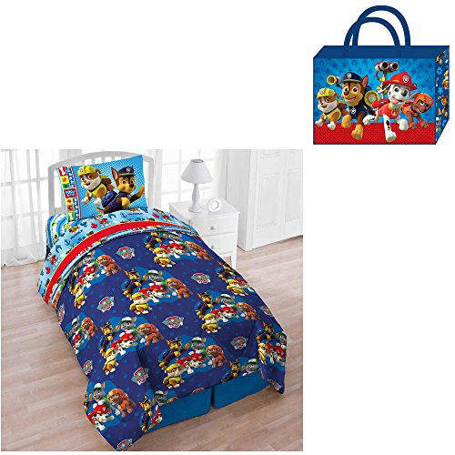 Nickelodeon Paw Patrol Pups Save The Day 4-Piece Reversible Twin Bedding Set: Comforter, Fitted/Flat Sheets, Pillowcase & Bonus Tote (Marshall, Chase, Rubble, Rocky & ()