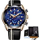 Men Watch LIGE Brand Leather Military Watches Men's Chronograph Waterproof Sport Date Quartz Wristwatch Gifts