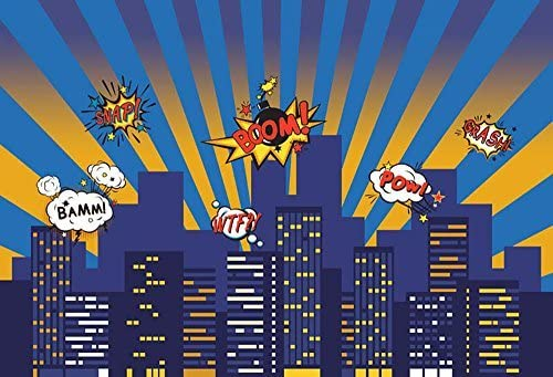 COMOPHOTO Kid Superhero Photography Backdrop Children Cartoon City Building Birthday Party Decoration for Photo Studio Background 7x5ft Seamless Polyester Backdrop