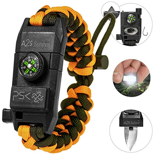 (PSK Paracord Bracelet 8-in-1 Personal Survival Kit Urban & Outdoors w/ Survival Knife, Fire Starter, Glass Breaker, Survival Whistle, Signal Mirror, Fishing Hook & String, Compass (Orange) )