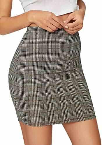 e5a0562d9e SheIn Women's Basic Stretch Plaid Mini Bodycon Pencil Skirt Small #Grey#4