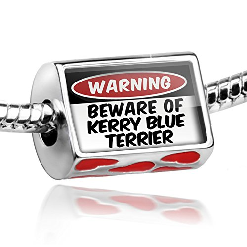Dog Blue Charm Kerry Terrier (NEONBLOND Bead with Hearts Beware of the Kerry Blue Terrier Dog from Ireland - Charm Fit)