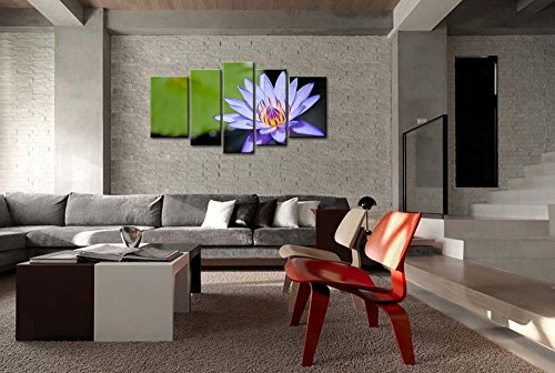 So Crazy Art® Purple 5 Piece Wall Art Painting Water Blue Lily Prints On Canvas The Picture Flower Pictures Oil For Home Modern Decoration Print Decor For Living Room