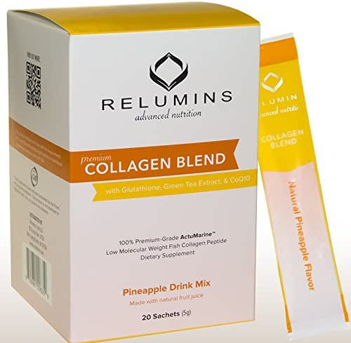 Relumins Premium Collagen Powder Blend Drink Mix - 100% Premium-Grade ActuMarine Collagen with Glutathione, Green Tea Extract and CoQ10 (Pineapple)