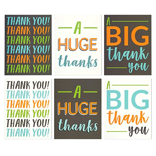 12-Pack-Jumbo-Thank-You-Greeting-Cards-6-Assorted-Multicolor-Designs-Bulk-Box-Set-Variety-Assortment-Envelopes-Included-85-x-11-Inches