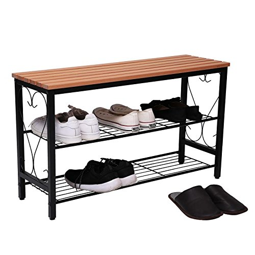 STRUGGLE Metal Shoe Bench with Seating, 2-tier Shoe Rack for Entryway Hallway, Shoe Organizer, Black Frame with Walnut Top