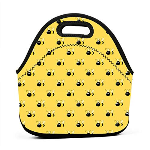 Lunch Bag Yellow Bees Gourmet Tote Pouch Container for Women/Men Kids, Work School Office Lunch Holder Neoprene Totebag Reusable Grocery Container