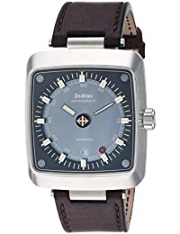 Mens Astrographic Swiss Automatic Stainless Steel and Leather Casual Watch, Color:Brown. Zodiac