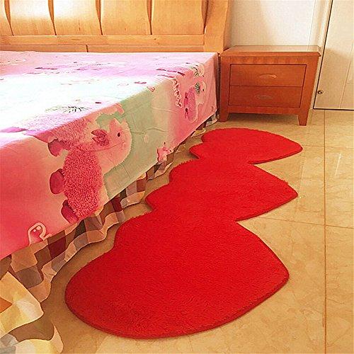 Heart Shaped Marriage Bedroom Carpet Super Soft Non-slip Wedding Carpet for Bedroom Modern Area Rug Soft Floor Carpet Runner,50cmx160cm (Red)