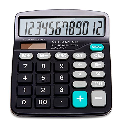 Price comparison product image Calculator,12-Digit Solar Battery Basic Calculator,Solar Battery Dual Power with Large LCD Display Office Calculators by CloudWave (Black002)