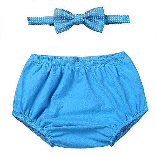 Agoky Baby Boys Cake Smash Outfit First 1st Birthday Party Bloomers with Bow Tie Sky Blue One Size ()