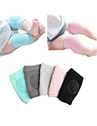 Infant Toddler Baby Adjustable 5 Pair Elastic Knee Elbow Leg Pad Leg Warmer Crawling Baby Socks Knee Safety Protector Unisex Baby Anti-slip Kneepads for 6-24 Months