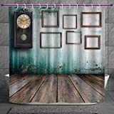 Stylish Shower Curtain 2.0 [ Clock Decor,A Vintage Clock and Empty Picture Frames in an Old Room Wooden Backdrop,Green and Brown ] Digital Printing Polyester Antique Theme with Adjustable Hook