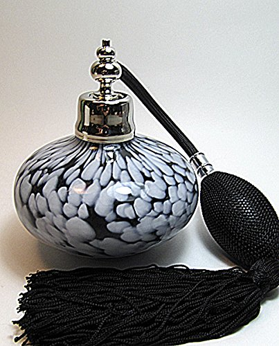 Art Black White Marble like Glass Perfume Cologne Refillable Empty Bottle with Black Bulb Atomizer Sprayer (Black Bulb color)