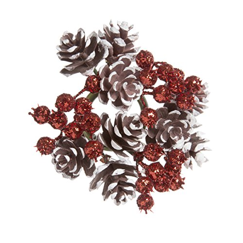 Darice Pinecone and Berry Candle Ring Glitter Brown White And Red 4 Inches (Ring Candle Pinecone)