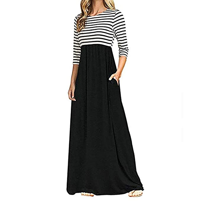 56f8f8815f5 Howstar Women s Long Maxi Dress Casual Loose Long Sleeve Party Dresses  Pockets Patchwork Striped Shirts Dress