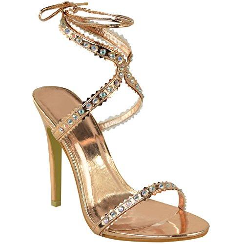 ns Lace Up Gem Diamante Party High Heels Stilettos Sandals Size 9 ()