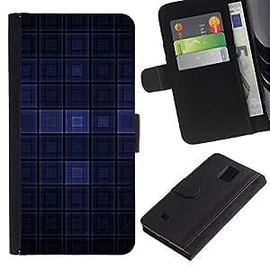 Paccase / Billetera de Cuero Caso del tirón Titular de la tarjeta Carcasa Funda para - Blue Dark Modern Wallpaper Checkered Square - Samsung Galaxy Note 4 SM-N910