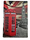 British Style Vintage Poster Metal Tin Sign Iron Plate Pub Hotel Bar Cafe Home Wall Decor (Big Ben and Telephone Booth)