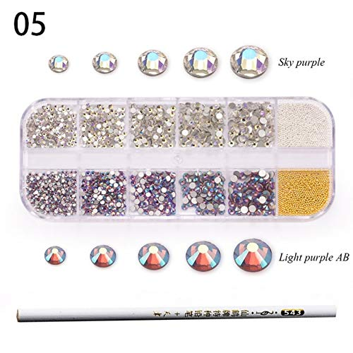 Nail Art Accessories - 3D Nail Art - Nail Art Rhinestones - 1 Box Double Colorful Mixed Size Strass Crystal Glass Rhinestone With Metal Beads Nail Rhinestones For Nails Decorations -