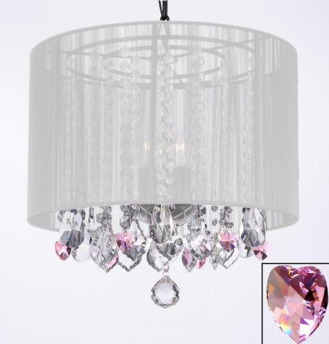 Crystal Chandelier Chandeliers With Large White Shade And Pink Crystal  Hearts! H15u0026quot; X W15u0026quot
