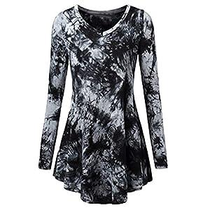 Todaies-Women blouse Women Blouse Shirts,Todaies Women Neck Pleated Long Sleeves Plus Size Blouse Top Tunic Shirt