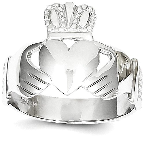 ICE CARATS 14k White Gold Mens Irish Claddagh Celtic Knot Band Ring Size 9.00 Man Fine Jewelry Dad Mens Gift Set