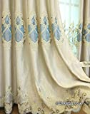 TIYANA European Style Beige Embroidered Curtain Extra Wide for Living Room Delicate Embroidery Royal Luxury Chenille Cloth Frabric Window Panel for Villa Metal Grommet Top, 1 Piece W114 x L84 inch
