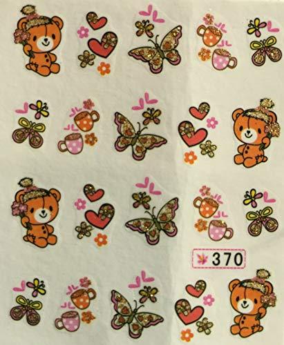 Nail Art Water Decals Glitter Teddy Bear Butterflies Tea Cups Hearts