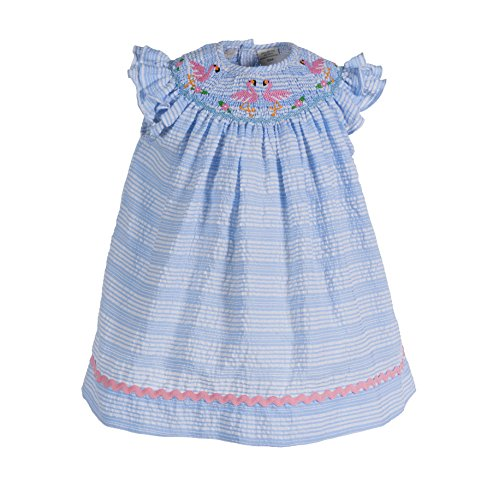 Carriage Boutiques Smocked Dress - Carriage Boutique Girls Dress Blue with Pink Flamingos Smocked Bishop Dress