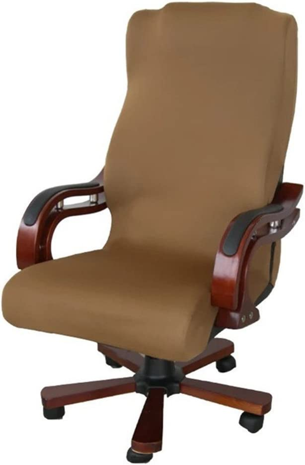 ELEOPTION Office Chair Seat Cover Stretch High Back Large Size, Universal Chair Cover for Computer Chair Executive Chair Rotating Swivel Chair Boss Chair Slipcovers Modern Style (Large, Brown)