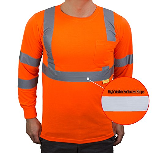 NY Hi-Viz Workwear L9091 Class 3 High Vis Reflective Long Sleeve ANSI Safety Shirt (Large, Orange) by New York Hi-Viz Workwear (Image #3)