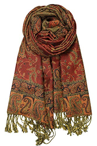 - Achillea Soft Silky Reversible Paisley Pashmina Shawl Wrap Scarf w/Fringes 80