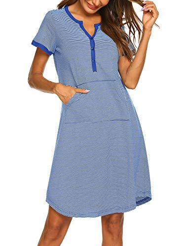 Ekouaer Nightgown Womens Striped Nightshirt Short Sleeve Sleepwear Top Button Down Sleepshirt Nightdress